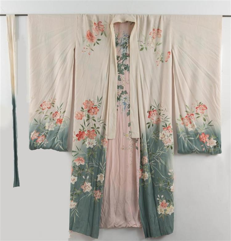 THREE SILK VESTMENTS Chinese jacket with embroidered peonies and chrysanthemums and lady''s light blue short-sleeved fitted waist coa..