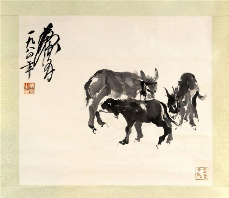 SCROLL PAINTING ON PAPER Three donkeys. Signed upper left