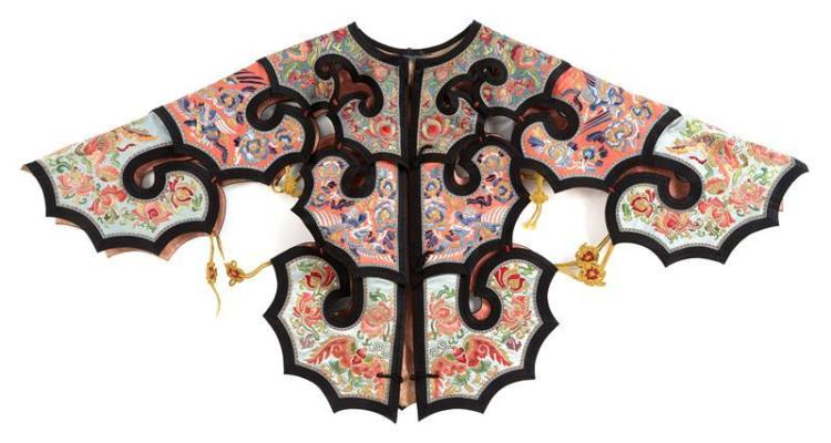 EMBROIDERED SILK COLLAR In triple ruyi design with phoenix, butterfly, bat, and flower design on a blue, salmon, and turquoise groun...