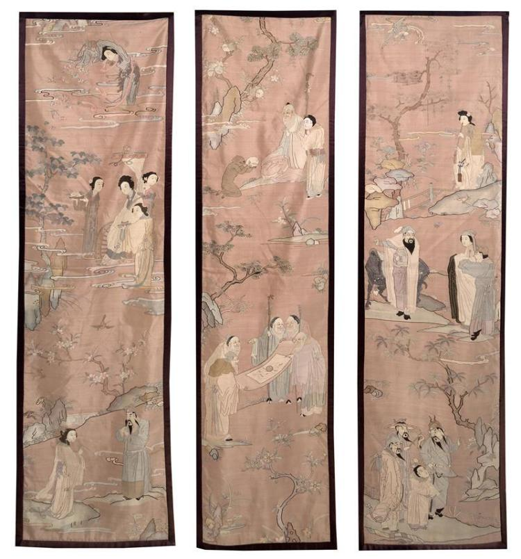 THREE KESI PANELS With mythological figural landscapes worked with gold threadwork and polychrome silk on a pale rose ground. Length...