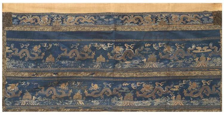 SILK NEEDLEWORK PANEL With four-claw dragon panels on a blue ground. 61