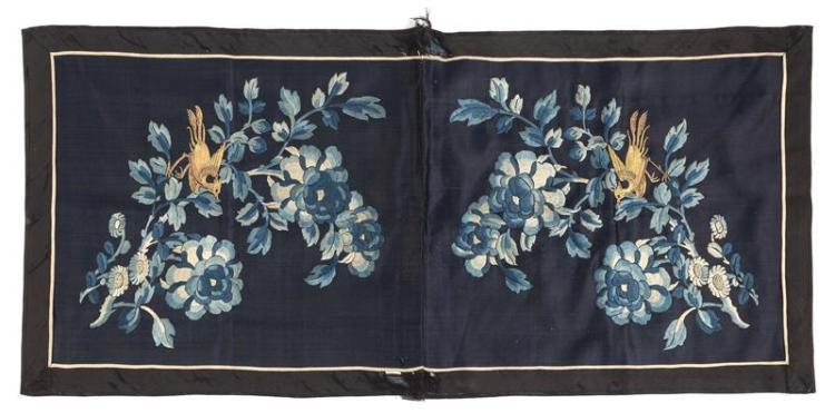 TWO SILK EMBROIDERED PANELS Depicting golden pheasant with blue peonies on a blue ground. 17.5