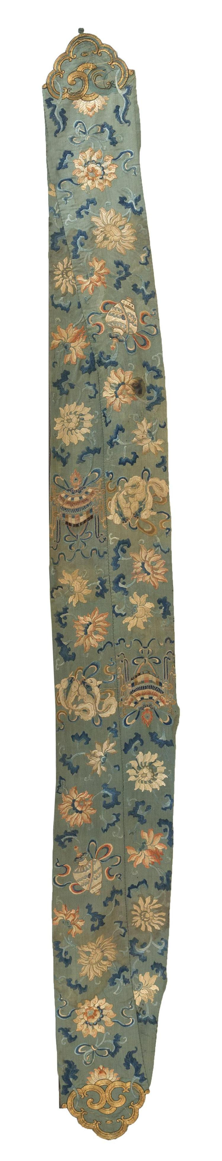 TWO CONJOINED SILK NEEDLEWORK PANELS Decorated with Buddhistic symbols and flowers and terminating with gold threadwork ruyi fungus....