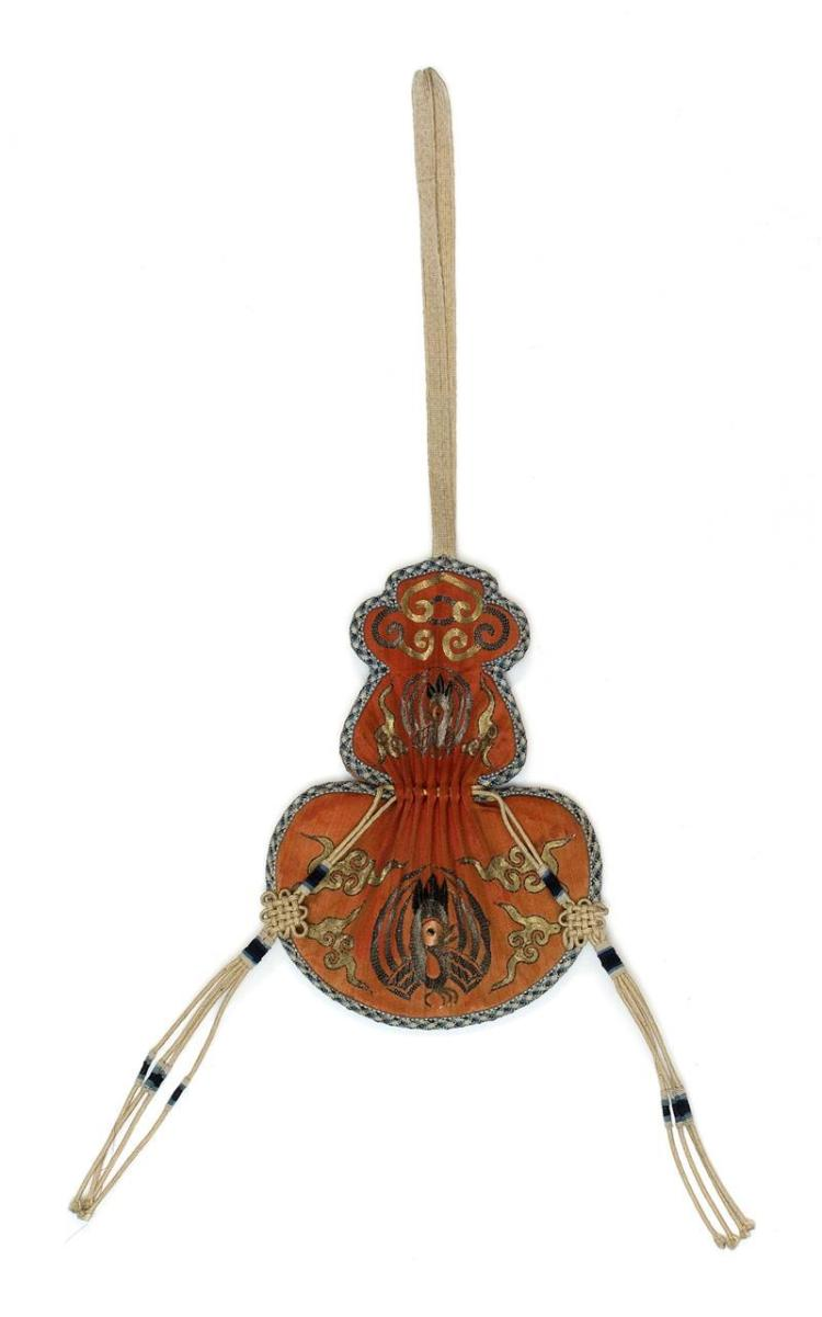 EMBROIDERED SILK NEEDLEWORK CASE In double-gourd form with phoenix and cloud design on a salmon ground. Length 6.6