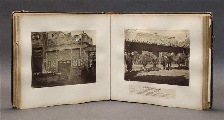 LEATHER-BOUND ALBUM Containing approximately ninety photographs of China, Korea, and Japan. Sizes vary. Descended in the family of H...