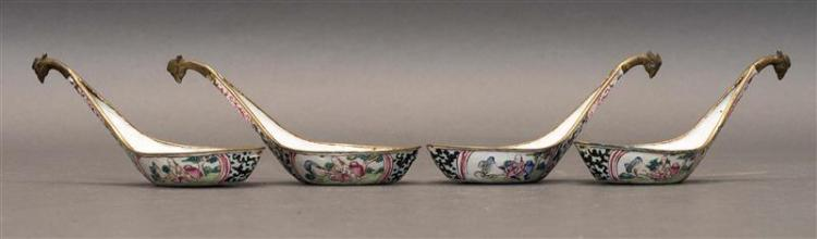 SET OF FOUR PAINTED ENAMEL SPOONS With Western figural landscape design. Lengths 4.5