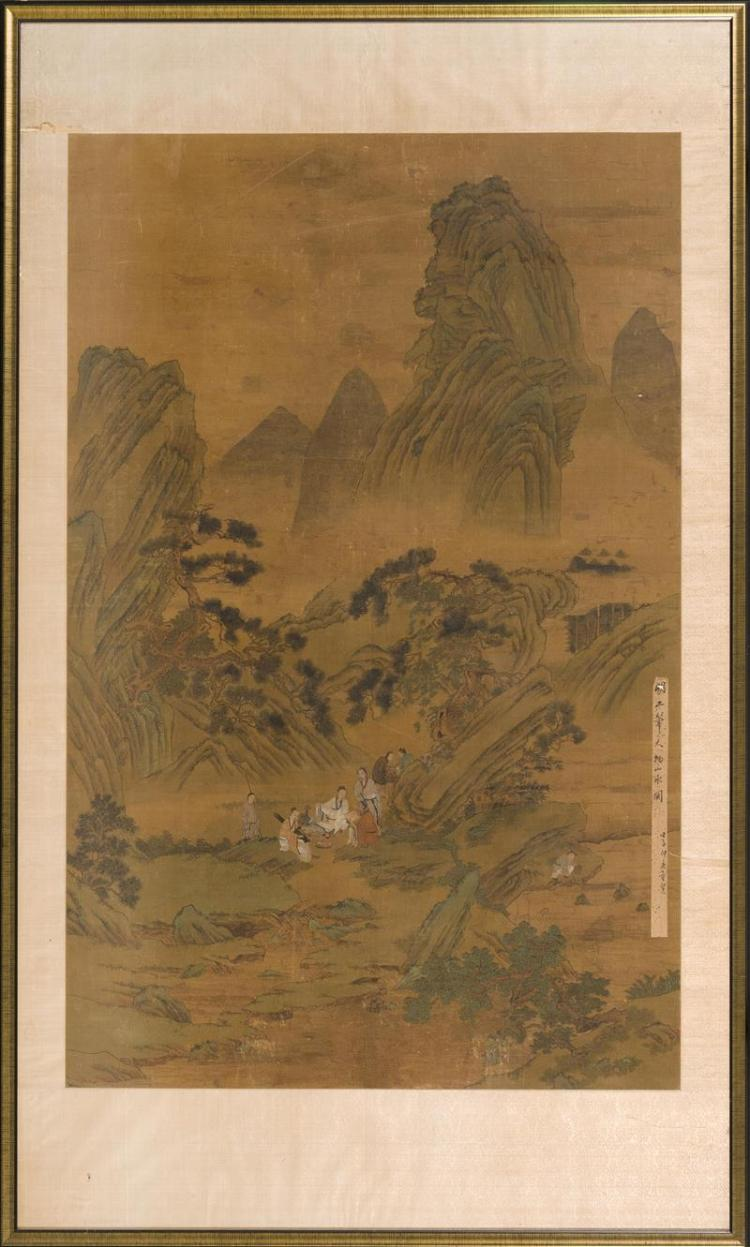 FRAMED PAINTING ON SILK With design of sages in a pine tree landscape with towering cliffs. Has attached scroll colophon. 60
