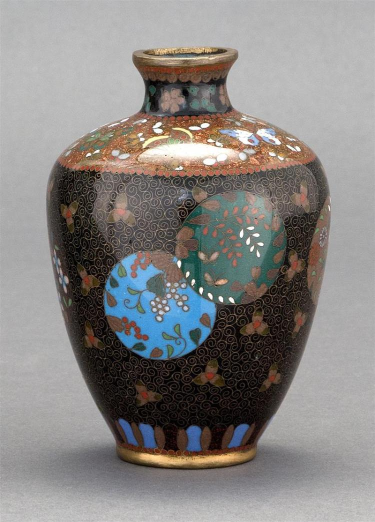 CLOISONNÉ ENAMEL VASE In inverted pear shape with floral rondel design. Height 4.6