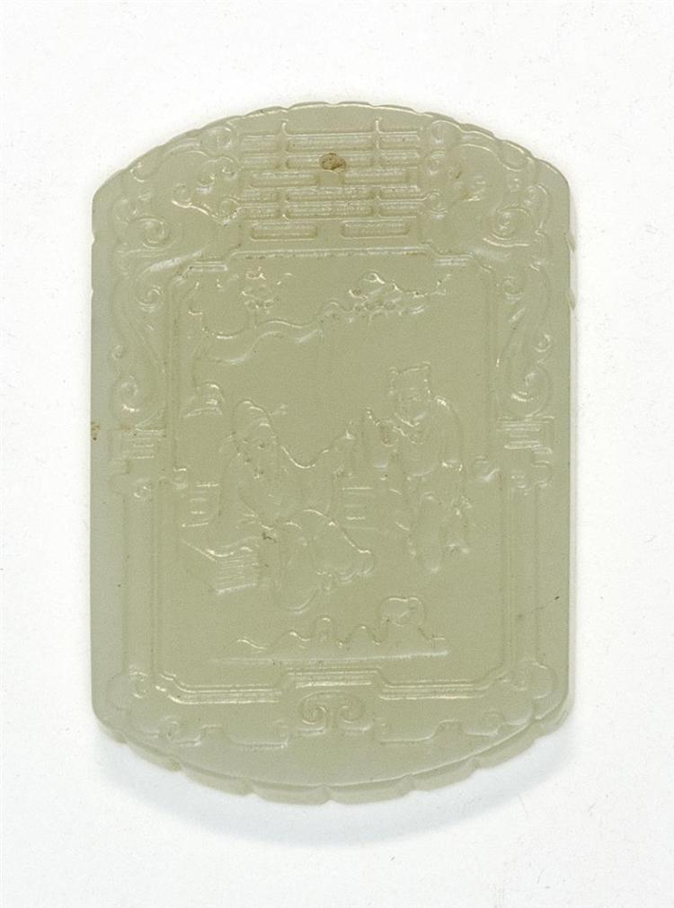 WHITE JADE PENDANT In modified rectangular form. Carved on one face with sage and attendant; on reverse with calligraphy. Length 2