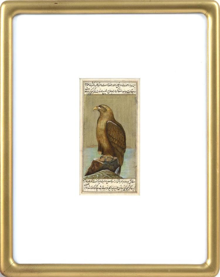 PERSIAN BOOK PAGE ILLUSTRATION Depicting a hawk with calligraphy. 6.25