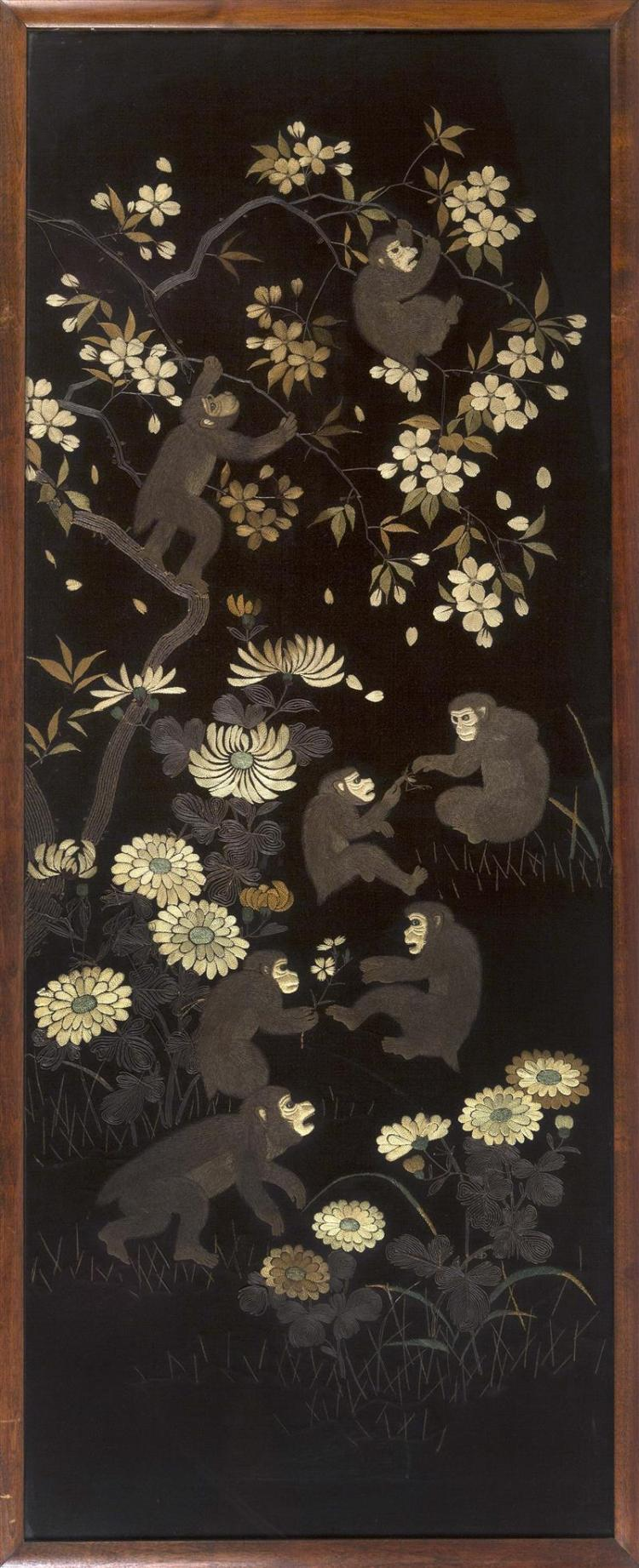 FRAMED NEEDLEWORK PICTURE Depicting seven monkeys in a chrysanthemum and plum blossom landscape. 48