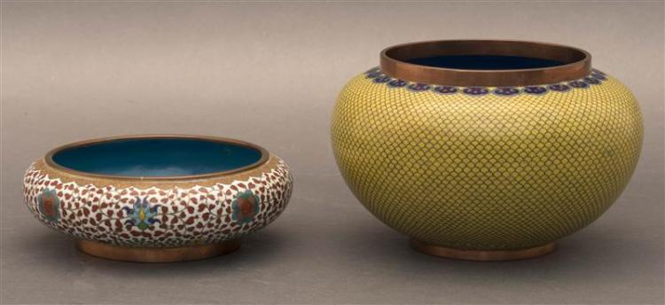 TWO CLOISONNÉ ENAMEL BOWLS One in squat ovoid form with lotus flower and yin and yang mons on a red vine-filled white ground. Gilt l...