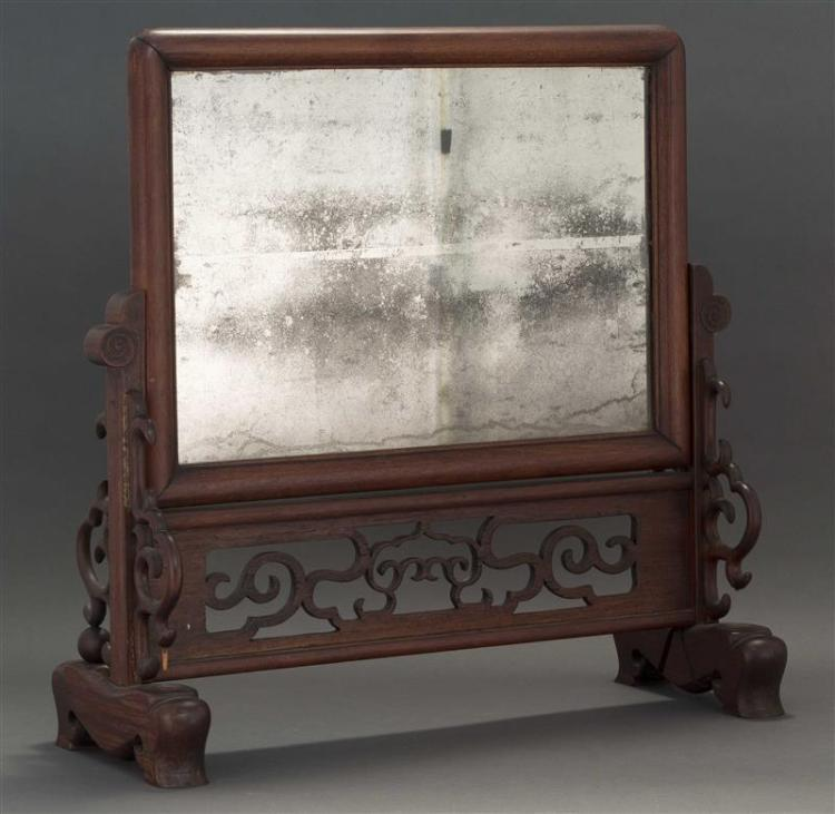 ROSEWOOD MIRROR-MOUNTED TABLE SCREEN Open-carved base and sides. Height 25