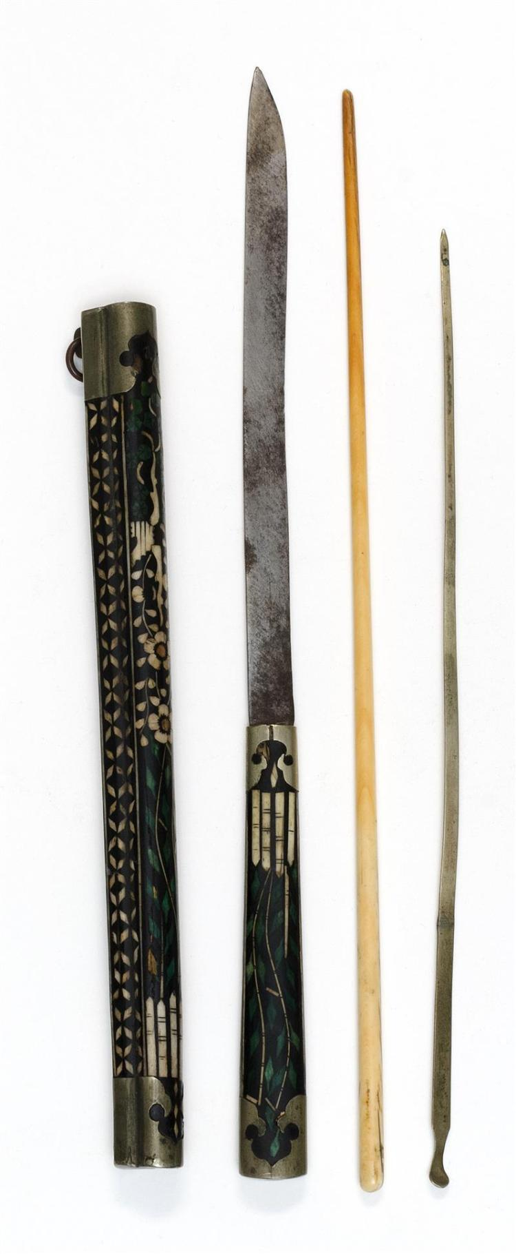 TRAVELING EATING SET Inlaid floral lacquer case with metal mounts. Contains one bone chopstick, a knife, and a pick. Length of knife...