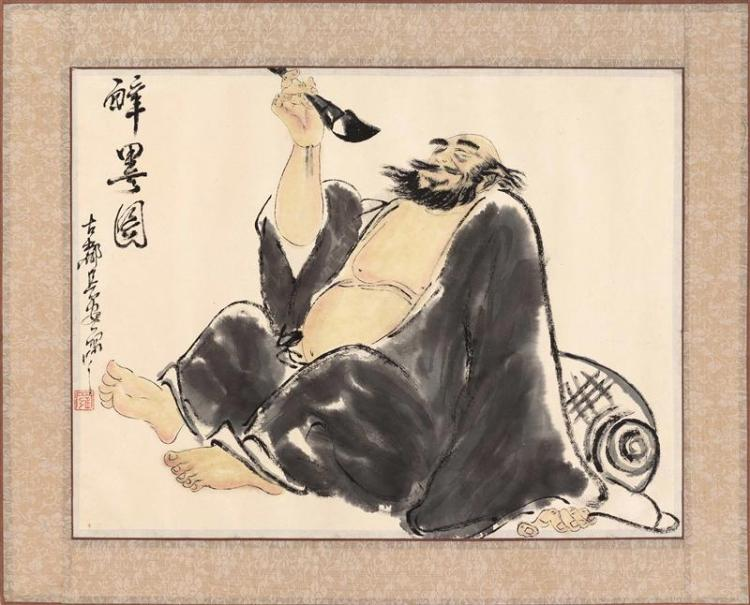 WATERCOLOR ON PAPER A seated sage with a scholar''s brush. Signed