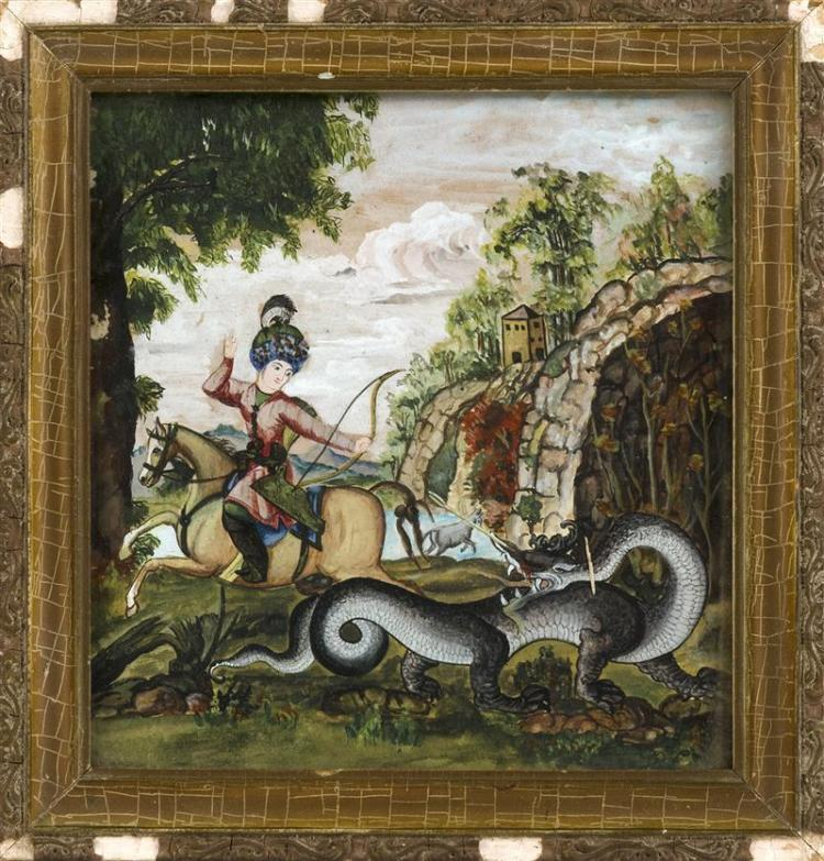 PERSIAN PAINTING Warrior on horseback slaying a dragon with a bow and arrow. Signed lower right
