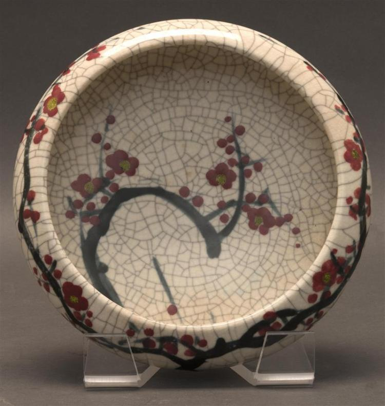 WHITE CRACKLEWARE BOWL In squat ovoid form with hawthorne flower-branch decoration. Height 3