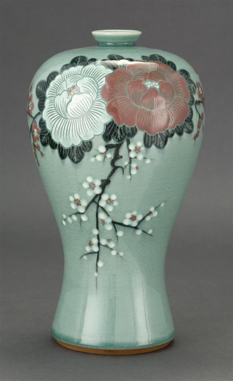 KOREAN CELADON PORCELAIN VASE In meiping form with peony and plum branch decoration. Potter''s mark on base. Height 12