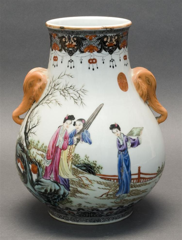 POLYCHROME PORCELAIN VASE In squat ovoid form. With tapered neck and figural decoration of ladies in a courtyard on one side; ladies...
