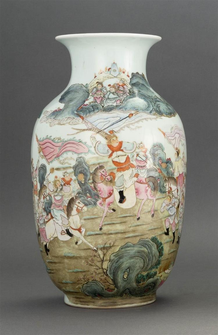 FAMILLE VERTE PORCELAIN VASE In baluster form with decoration of warriors on horseback in a landscape. Six-character Yongzheng mark...