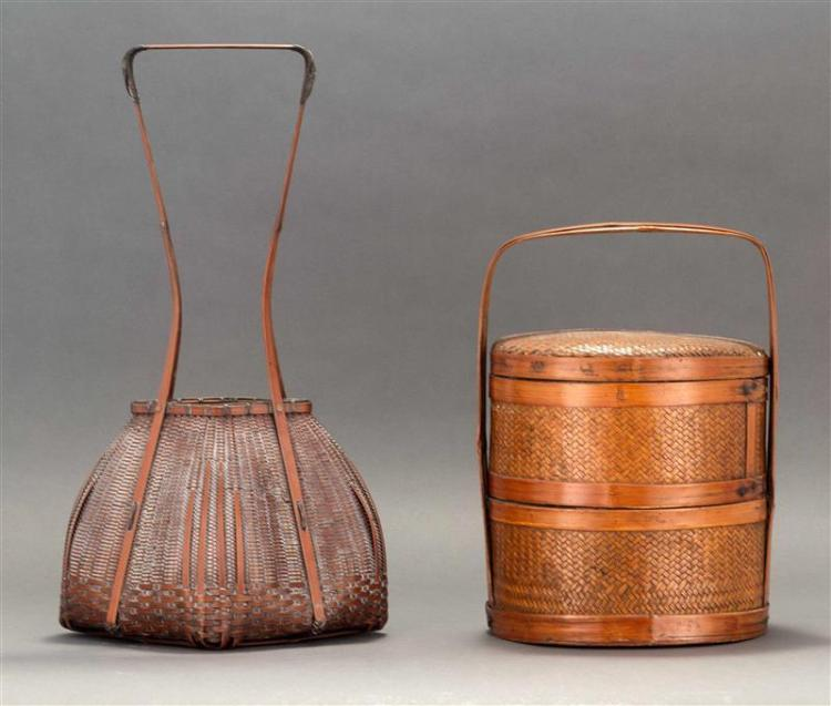 TWO SPLINTWORK BASKETS One Ikebana in squat hexagonal form with elongated handle and bamboo liner. Basket signed on base. Height 19