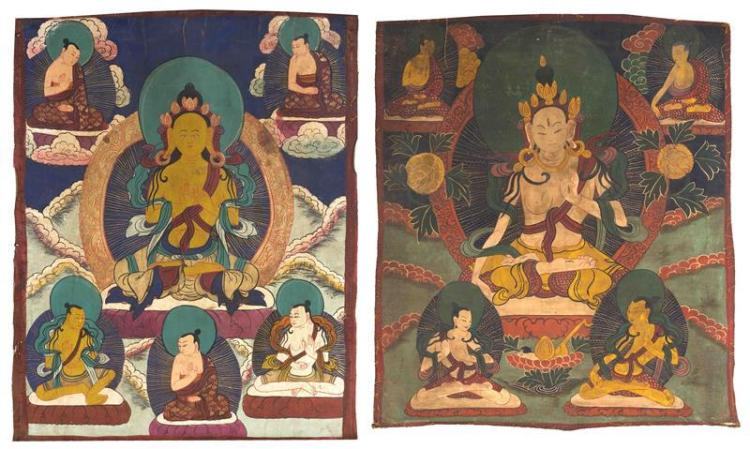 TWO TIBETAN THANKAS Most likely by the same hand. One with a central Buddha seated on a mandala throne with five smaller deities abo...