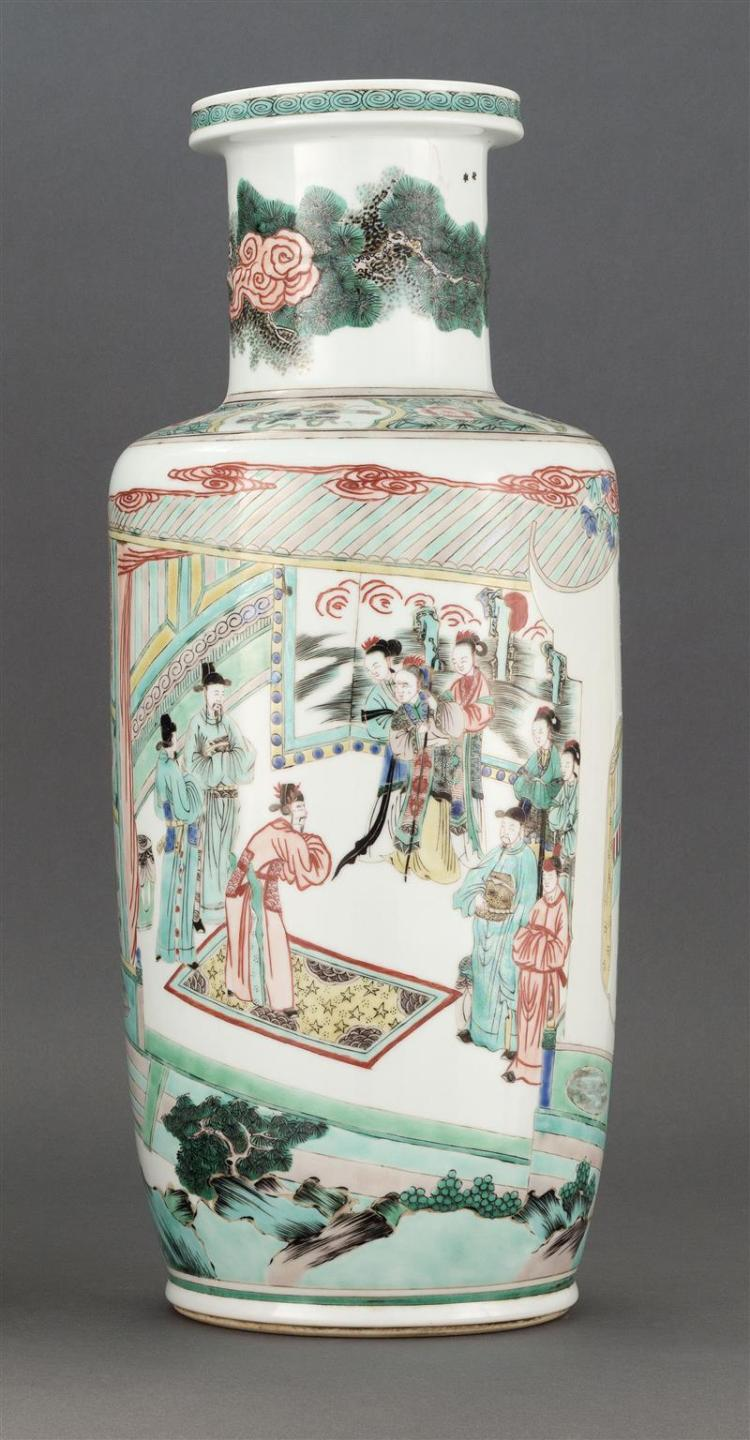 FAMILLE VERTE PORCELAIN VASE In rouleau form with figural landscape design. Six-character Kangxi mark on base. Height 18.5
