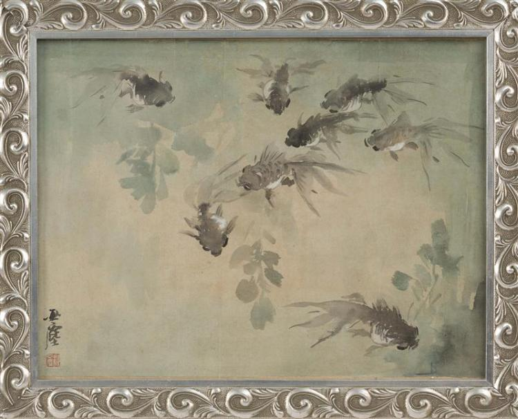 PAINTING ON PAPER By Wang Yachen. Depicting fan-tailed carp and seagrasses in blue-green and grays. Signed and seal marked. 13.5