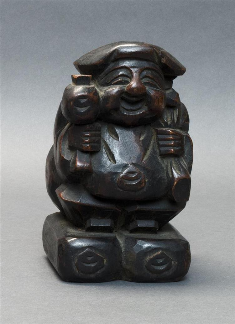 ITTABORI CARVED WOOD FIGURE Depicting Daikoku. Height 7.5