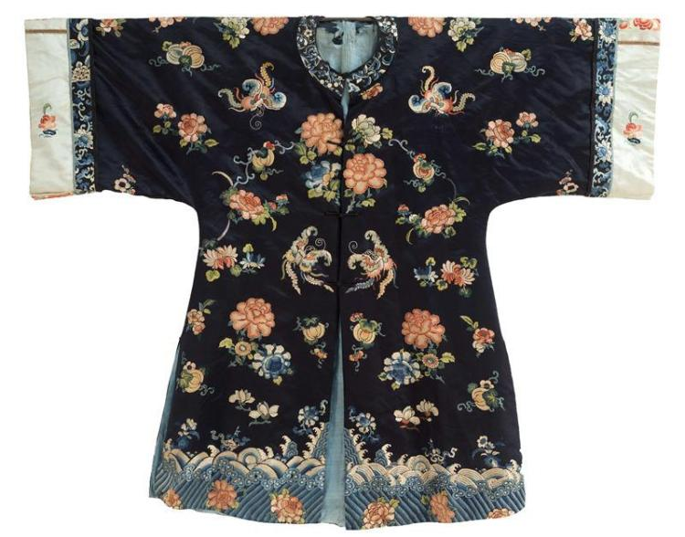 SILK NEEDLEWORK ROBE With peony and butterfly design using some Forbidden Stitchwork. All on a blue ground.