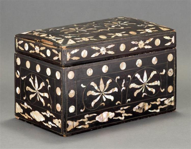 KOREAN MOTHER-OF-PEARL INLAID LACQUER BOX In stylized floral design with wirework inlay. Similar example in Metropolitan Museum of A...