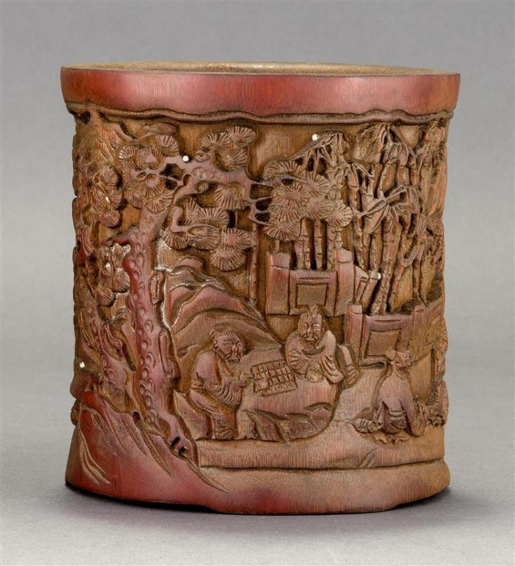 BAMBOO BRUSH POT In cylinder form with sages and children in a pine tree and bamboo landscape. Height 6