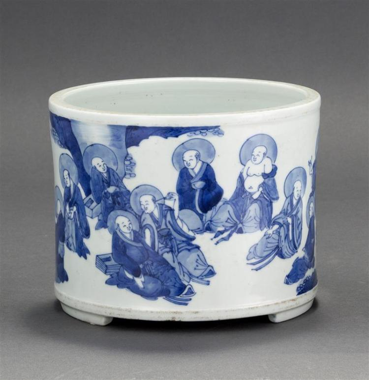BLUE AND WHITE PORCELAIN BRUSH POT In cylinder form with decoration of Immortals. Diameter 7