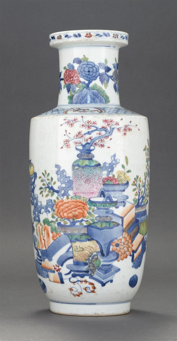 UNDERGLAZE BLUE AND POLYCHROME ENAMEL VASE In rouleau form with decoration of scholar''s implements and flowers. Six-character Guangx..