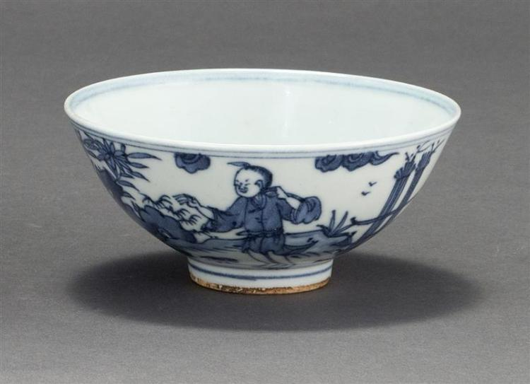 BLUE AND WHITE PORCELAIN BOWL With figural landscape design. Six-character Ming mark on base. Diameter 5