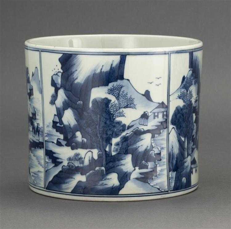 BLUE AND WHITE PORCELAIN BRUSH POT In transitional style with figural landscape designs. Diameter 7.75
