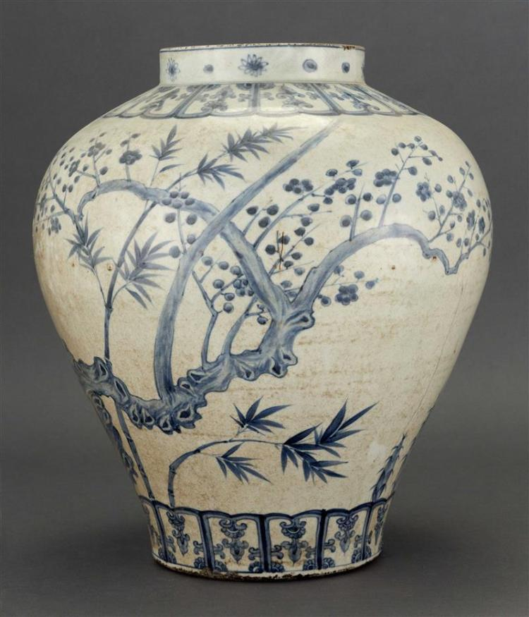 KOREAN BLUE AND WHITE PORCELAIN JAR In pear shape with prunus and bamboo design. Height 15