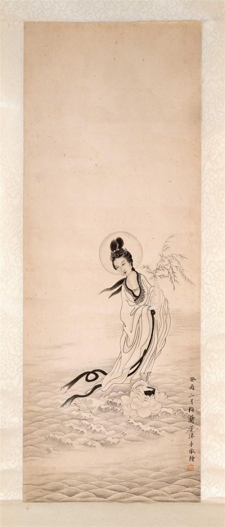 SCROLL PAINTING ON PAPER Attributed to Mei Lanfang. Depicting a mythological female figure standing on a lotus blossom. Signed and s...