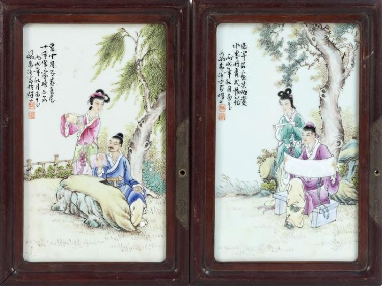 PAIR OF PORCELAIN TILE PAINTINGS Depicting scholars and maidens in garden settings. Both with calligraphy and seal marks. 12.5