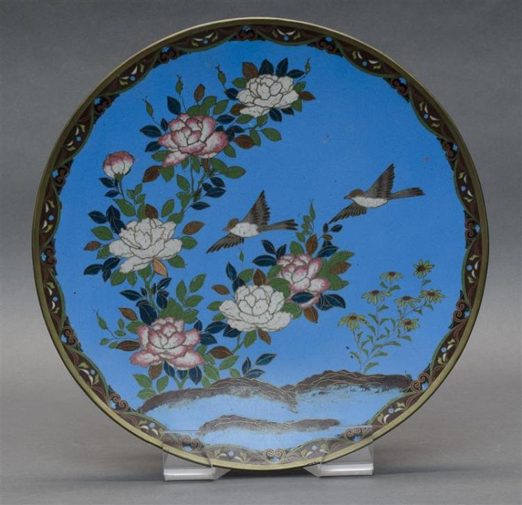 CLOISONNÉ ENAMEL CHARGER With bird and flower design on a blue ground. Diameter 12