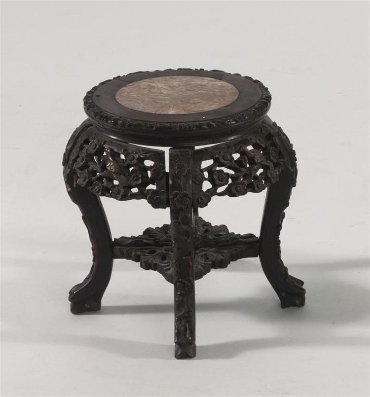 ROUGE MARBLE-TOP STAND In circular form with pierced bird and flower apron. Height 13.5