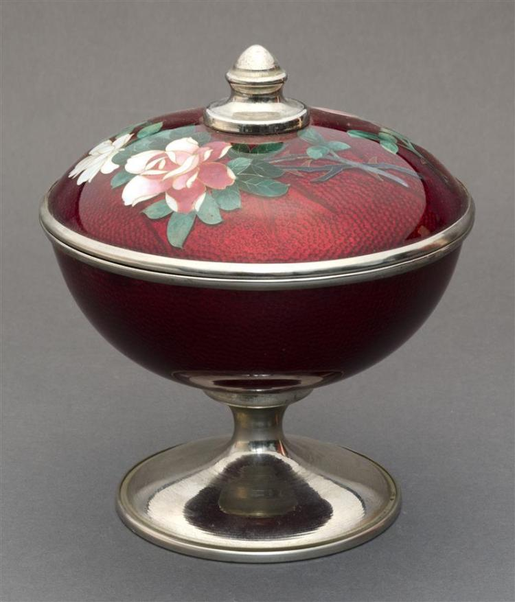 CLOISONNÉ ENAMEL COVERED COMPOTE With floral spray design on a pigeon''s-blood red ground. Height 7