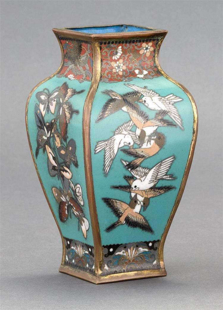 CLOISONNÉ ENAMEL VASE In rectangular baluster form with bird and butterfly design. Height 6
