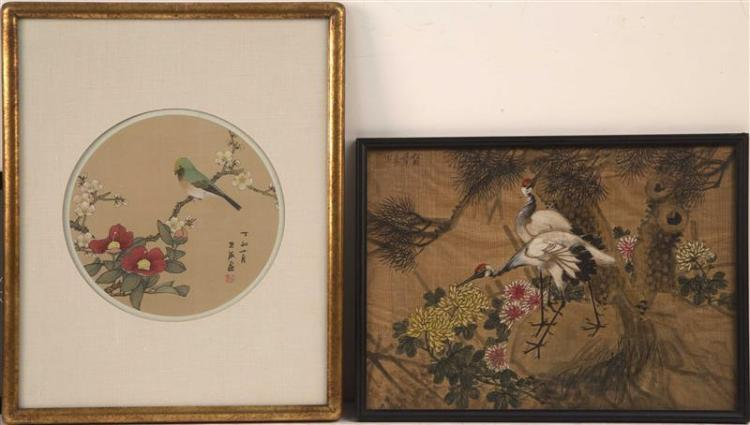 TWO PAINTINGS ON SILK 1) 20th Century. Depicting songbird on a flowering tree branch. Calligraphy lower right. Diameter 9