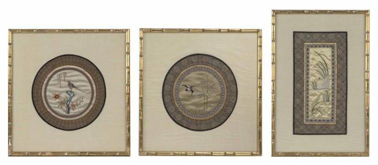 THREE FRAMED SILK NEEDLEWORKS Two rondels with central depiction of a duck and bamboo and a songbird on rockery, both with brocade b...