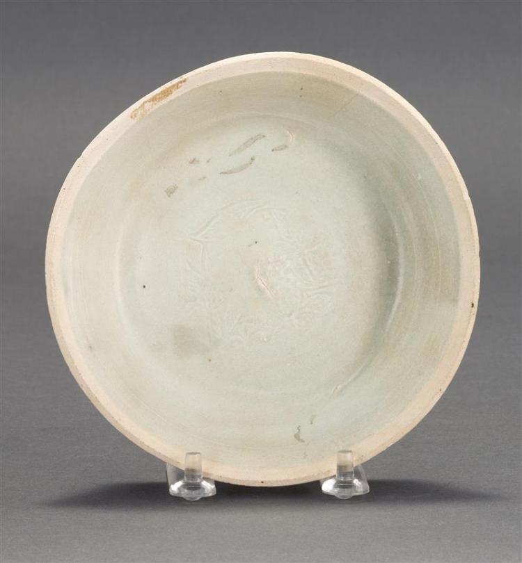 QINGBAI PORCELAIN DISH With incised fish design on interior. Diameter 5.75