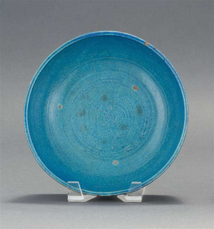 TURQUOISE GLAZE POTTERY BOWL With concentric ring design. Diameter 8