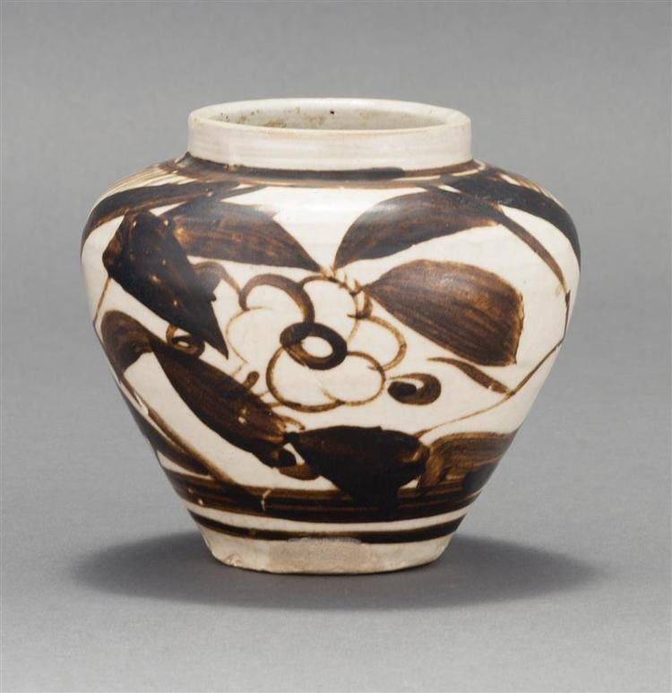 CHIZHOU POTTERY JAR In inverted pear shape with floral design. Height 4.5