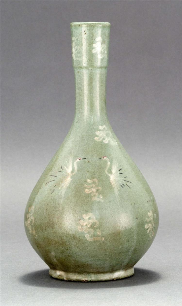 KOREAN INLAID CELADON BOTTLE/VASE In teardrop form with crane and cloud design in red, white, and black. Height 10.5