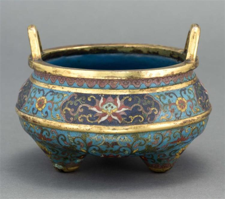CLOISONNÉ ENAMEL CENSER In ovoid form with tripod base, loop handles, and passionflower design on a blue ground. Four-character Qian...